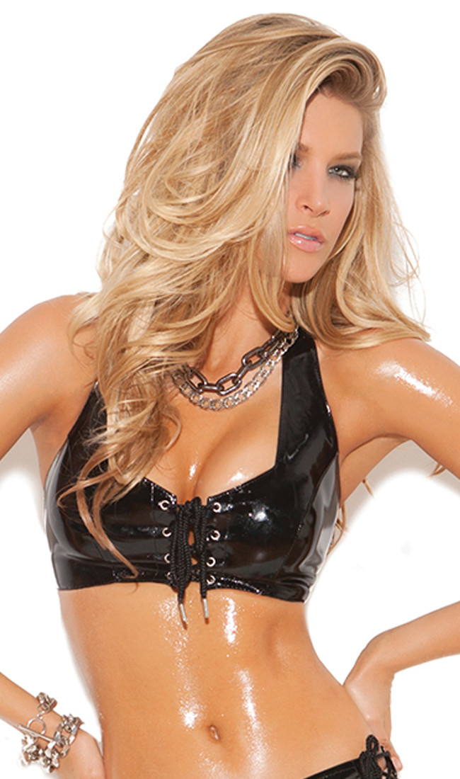 4be797ff2c4 Vinyl lace up cami top with halter neck and side zipper.