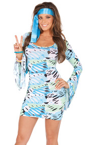 Retro Print groovy costume includes abstract print bell sleeve mini dress and satin scarf head piece. Two piece set.