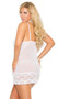Sheer mesh babydoll with scalloped floral lace trim, underwire cups, keyhole front and adjustable straps. Matching g-string and leg garter included.