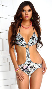 Maldives metallic halter monokini with scrunched back and metal ring detail.