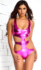 Majorica metallic strappy monokini features a u-shaped neckline, cut out sides and double back closures.