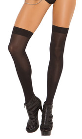 Opaque nylon thigh high stockings.