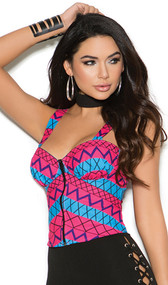 Tribal print bustier top with zipper front and wide shoulder straps.