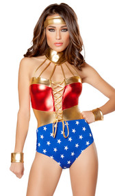 Merciful Super Hero Hottie costume includes metallic lace up romper with attached neck piece and headband. Two piece set.