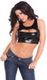 Cropped wet look tank with front zipper opening. Full wet look back. G-string included.