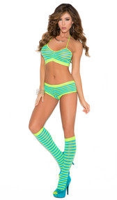 Striped cami halter neck crop top, booty shorts with ruched back, and matching knee high stockings. Three piece set.