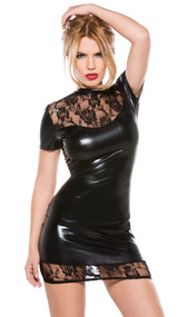 Wet look mini dress with seductive lace panels. Adjustable Velcro neck closure. 4 way stretch for a perfect fit.