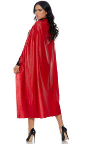 Long line vinyl hero cape with Velcro closure.