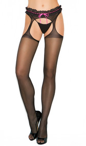 Sheer suspender pantyhose with lace and contrast ribbon top.
