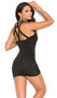 Sleeveless mini dress with strappy caged neckline.