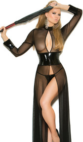 Sheer mesh long sleeve gown with vinyl accents, keyhole front, flyaway front and back, and adjustable hook and eye back closure. Matching vinyl G-String with elastic back included.  Two piece set.