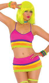 Neon rainbow striped Lycra top with adjustable straps and matching mini skirt with ruffle trim.