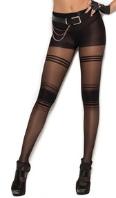 Sheer pantyhose with horizontal striped detail.