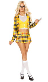 School Girl Without a Clue costume includes crop top with attached vest, plaid blazer, and pleated mini skirt. Three piece set.