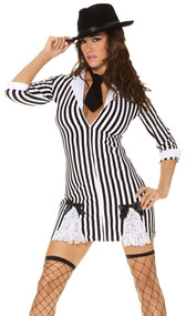 Gangster Girl mafia costume includes 3/4 sleeve striped dress with collar, zipper front, lace inserts and bow detail. Neck tie also included. Two piece set.