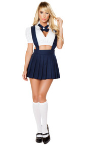 Naughty Private School Girl Costume includes short sleeve crop top with deep V neck and collar, neck piece with button detail, and high-waisted pleated skirt with suspenders. Three piece set.