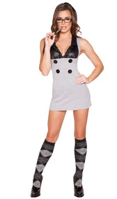 Sultry Detention Diva school girl costume includes sleeveless dress with wet look bust, collar, ruffle trim, large button details, and back slit. One piece set.