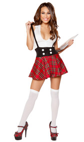 Teasing School Girl costume includes sleeveless dress with deep V neckline, collar, zipper closure, button detail and attached suspenders. One piece set.