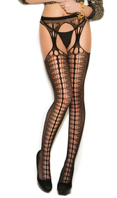Crochet suspender pantyhose with diamond pattern on front, and faux back seam.