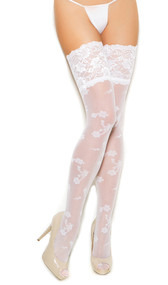 Sheer thigh high stockings with floral design and 5 inch lace top.