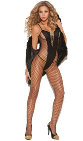 Diamond net and opaque V pattern bodystocking with spaghetti straps. Crotchless.