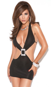 Deep V halter style mini dress with rhinestone buckle, open sides and back.
