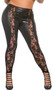 Wet look leggings feature sheer floral lace front panels and full wet look back. Four way stretch for a perfect fit.