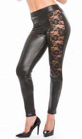 Wet look leggings feature sheer floral lace front panels and back lace yoke. Four way stretch for a perfect fit.