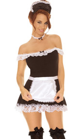 Sexy Maid costume includes: off the shoulder dress with lace trim and satin bow detail, satin apron, neck piece and head piece. Four piece set.