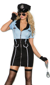 "Officer Lawless police costume includes short sleeve zip front mini dress featuring deep v neckline, collar, belt, ""POLICE"" patches and contrast metallic silver piping. Hat, sunglasses and handcuffs are also included. Four piece set."