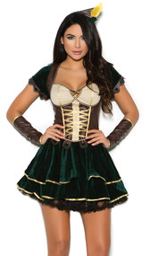 Adorable Archer costume includes short sleeve velvet mini dress with leatherette bodice and faux lace up detail. Leatherette arm guards and head piece are also included. Three piece set.