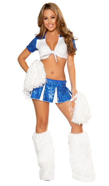 Charming Cheerleader costume includes two toned sequin mini skirt, short sleeve tie front crop top, and pom poms. Three piece set.