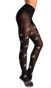 Skull and crossbones pattern pantyhose. Great for pirate costumes!
