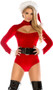 Naughty or Nice velvet Santa bodysuit with mock neck, front cut out, long sleeves and faux fur trimmed wrists.
