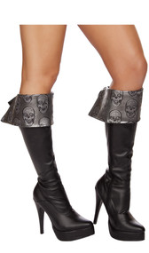 Skull embroidered boot cuffs with lace up tie back. Two per package.