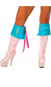 Turquoise boot cuffs with embroidered floral pattern and pink lace up tie back. Two per package.