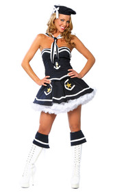 Naughty Navy Yard Vixen sailor costume includes strapless bustier top with anchor detail and zip up back, flair skirt with star details, hat and scarf. Four piece set.