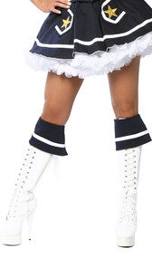 Navy blue boot cuffs with white stripe and white ribbon lace up tie back. Two per package. Boots not included.