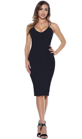 Bodycon midi dress with adjustable double strap detail.