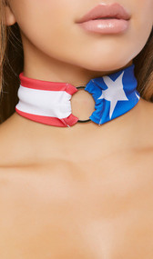 American flag pattern choker with metal o ring detail and back side hook and loop closure.
