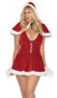 Mrs. Santa costume includes velvet dress with faux fur trim and lace up front detail, with matching hooded cape. Two piece set.