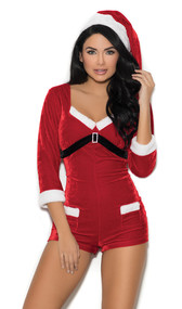 Holiday Cutie Santa costume includes velvet romper with three quarter sleeves, faux fur trim, faux pocket design, rhinestone buckle detail, and zipper back closure. Matching hat included. Two piece set.