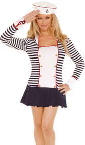 Sailor costume includes striped long sleeve mini dress with gold button detail, wrist cuffs and square neckline with collar. Sailor hat with anchor detail also included. Two piece set.