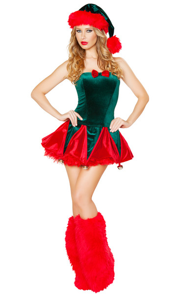 Naughty Elf costume includes strapless corset with lace up back and bow detail, and skirt with hanging bells. Two piece set.