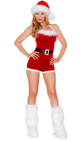 North Pole Brat costume includes velvet romper with halter neck, faux fur trim, and attached belt.