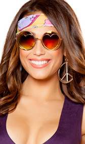 """Retro style hippie glasses with gold frames and heart shaped lenses. Lenses are 2"""" in diameter."""