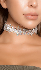 "Rhinestone flower bloom choker with adjustable lobster clasp closure. Measures about 1-1/8"" tall."