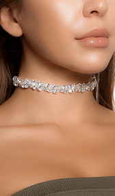 "Rhinestone bubble choker with adjustable lobster clasp closure. Measures about 1/2"" tall."