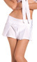 """Solid color pleated mini skirt. Slip on style with slightly stretchy waist. Skirt measures approximately 10-1/2"""" long."""