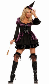 Cauldron Cutie witch costume includes long sleeve dress, hat and mini broom. Three piece set.